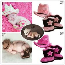 Newborn Baby Girl Boy Crochet Knit Cowboy Costume Photo Photography Prop Outfit