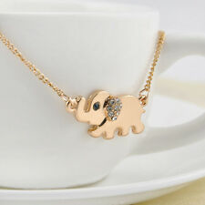 Cute Elephant Family Stroll Pandent Fashion Charming Crystal Chain Necklace RF