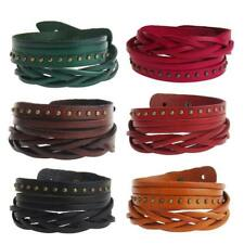 Men's Rivet Bracelet Wrap Wide Leather Wristband Cuff Bangle Multilayer