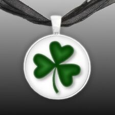 "Lucky Charm Green Shamrock Clover Artwork Print 1"" Pendant Necklace Silver Tone"