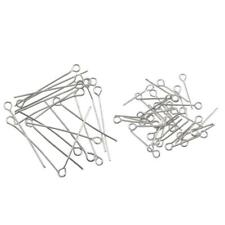 Wholesale 100Pcs Eye Pins Jewelry Finding Connectors Silver Plated 17/30mm