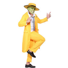 Mens The Mask Jim Carrey Costume Yellow Gangster Zoot Suit Halloween Fancy Dress