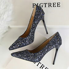 Women Fashion Sequin Peep Pointed Toe High Heels Wedding Party Shoes Stilettos