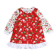 Newborn Baby Girl Long Sleeve Christmas Santa Claus Dress Party Outfits Costume