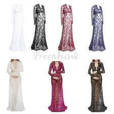 Maternity Women Deep Long Sleeve V-Neck Lace Floral Maxi Dress Party Photo Night