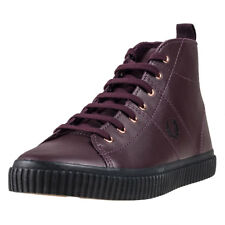 Fred Perry Ellesmere Mid Nappa Womens Trainers Oxblood New Shoes
