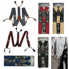 Mens Suspenders Braces Solid Adjustable 6 Button Hole Leather Strap Band Costume