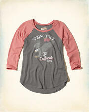 Abercrombie & Fitch - Hollister T-Shirt Womens Vintage Graphic Raglan S Grey NWT