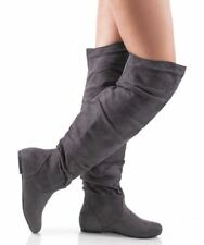 RF Room Of Fashion TrendHI-02 Vegan Slouchy Pullon Over-the-Knee Boots GREY SU
