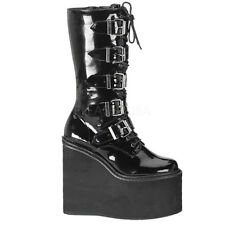 Demonia SWING-220 Women's Black Patent Goth Punk Cyber Buckle Platform Calf Boot
