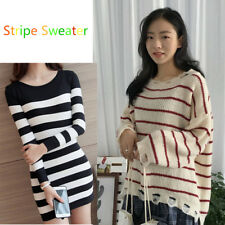 Women Loose Stripe Sweater Long sleeve Knitted Shirts / Slim Bodycon Tops NEW