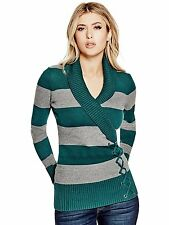 Guess Sweater Women's Shawl Collar w- Lace Up Detail Pullover Top S Green NWT