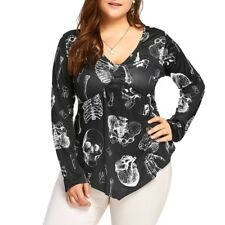 Summer Gothic Skull Womens Plus Size T Shirt Long Sleeve Blouse Casual Tee Tops