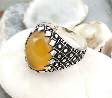 Handmade Natural Yellow Agate Stone 925 Sterling Silver Men's Ring #N8