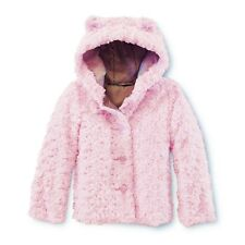 Size 4T Girls Faux Fur Jacket Hood with Bear Ears Hoodie Pink Furry Coat 4 NEW