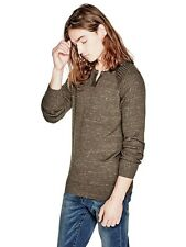 Guess Sweater Men's Long Sleeve Raglan 100% Cotton Pullover Top L Brown NWT