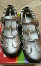 Stride Rite Blaire Pewter Silver/Metallic Patent Mary Jane~Athletic~Dress Claire