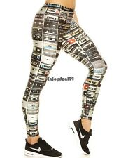New Fashion Women Print Leggings Vintage Style Elastic Waist Ankle Length OO5501