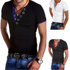 1Pcs Leisure Shirts Cotton Slim Fit Short Sleeve Tops Leisure Mens Cotton V Neck