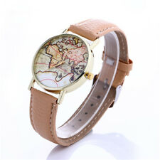 Lovers Leather Strap Watches 1Pcs Quartz Fashion World Map Students Hot Casual