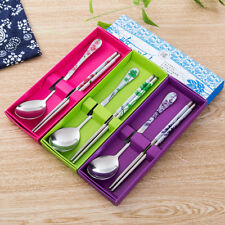 Spoon Stainless Steel Chopsticks Two pieces Portable Blue and white porcelain