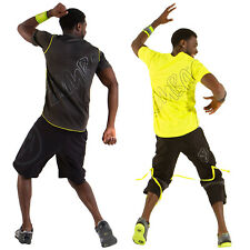 Zumba Fitness Unisex Keep the Pace V-Neck Tee Shirt NWT, X-Large, Grey, Yellow