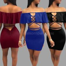 Sexy Womens Cut Out Bandage Crop Top Bra+Skirt Bodycon Mini Dress 2PCS/Set Q4I4
