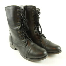 Steve Madden Troopa Lace-Up Boots Black Leather Womens Multiple Sizes