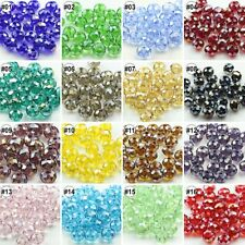 72pcs AB Colour Synthetic Crystal Gemstone Round Flat Loose Beads Strand 6X8mm