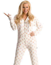 Gold Stars Unisex Luxurious White Chenille Adult Sized Footed Hoodie Pajamas