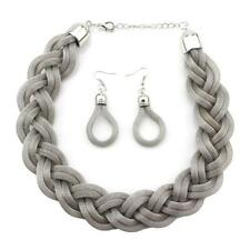 Vintage Jewelry Sets 5 Colors Fashion Alloy Weave Twist Chain Necklaces Earrings