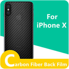 Front Tempered Glass Rear Carbon Fiber Screen Protective Film For iPhone X Lot