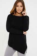 Society 8 Womens Long Sleeves Jumper with Boat Neck and Asymmetric Design