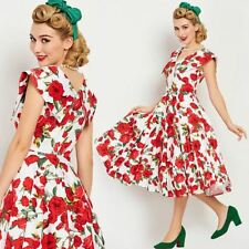 Vintage 1950s Red Roses on White Full Circle Skirt Dress pinup rockabilly 50s