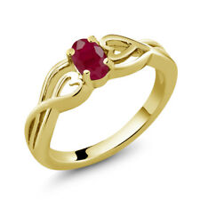 0.60 Ct Oval Red Ruby 18K Yellow Gold Plated Silver Ring