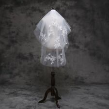 White/Ivory Lace Edge Wedding Veils Crystal Long Bridal Veil With Comb 1193