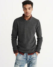 Abercrombie & Fitch Sweater Men's 100% Cotton Crew Neck Pullover L Grey NWT