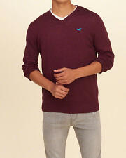 Abercrombie & Fitch Hollister Men's V Neck Icon Pullover Sweater S Burgundy NWT