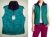 $99 Womens S M The North Face Mossbud Swirl Reversible Vest Green Purple RETIRED