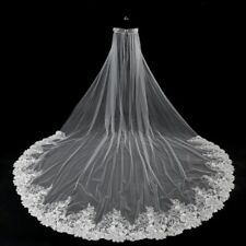 2018 White/Ivory Cathedral Wedding Veils Lace Edge Bridal Veil No Comb 11146