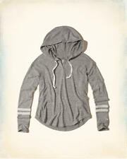 Abercrombie & Fitch Hollister Hoodie Women's Soft Fleece T-Shirt L Grey NWT
