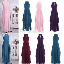 Women Sexy Bridesmaid Long Chiffon Maxi Evening Halter Prom Christmas Gown Dress