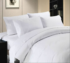 1000THREAD COUNT WHITE SOLID EGYPTIAN COTTON UK-BED SHEET SET/DUVET/FITTED SHEET