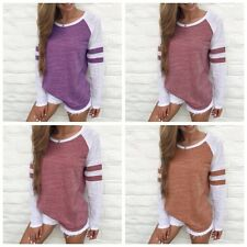 Ladies Women Long Sleeve Crew Neck Striped T-Shirt Casual Loose Tops Party Shirt