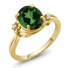 2.73 Ct Oval Green Mystic Quartz White Created Sapphire 14K Yellow Gold Ring