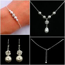 Stunning Bridal Pearl Necklace Set With matching silver plated chain bracelet