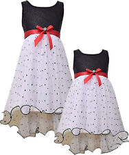 Girls 2T-16 Black/White/Red Sparkle Foil High Low Social Party Dress,Bonnie Jean