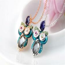 Cute Crystal Wink Eyes Rhinestone Alloy Owl Pendant Necklace Colorful Jewelry
