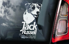 Jack Russell on Board - Car Window Sticker - Russel Terrier Dog Sign Decal - V02