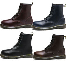 Men Lace Up Punk Shoes Military Motorcycle Rock Martin Leather Ankle Boot Winter